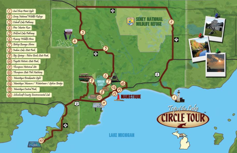 Top Of The Lake Circle Tour Travel Planner Great Getaways - Lake michigan circle tour map