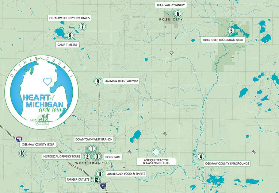 Heart Of Michigan Circle Tour Travel Planner Great Getaways